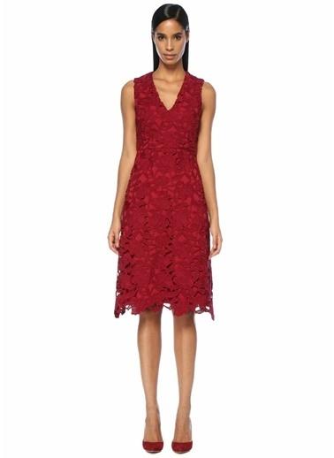 Beymen Collection V Yaka Güpür Dantelli Midi Elbise Kırmızı